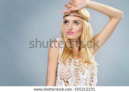 Portrait of a sexy hippie - stock photo
