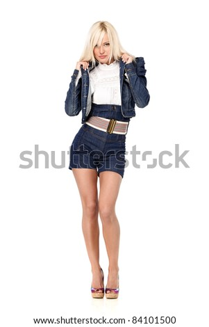 Portrait of a sexy young blond woman wearing casual clothes - stock photo