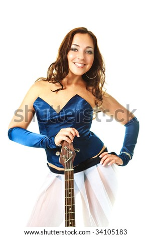 portrait of a sexy young brunette woman playing the guitar - stock photo