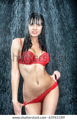 Portrait of a sexy young woman under water. Theme: beauty, spa, healthcare. - stock photo