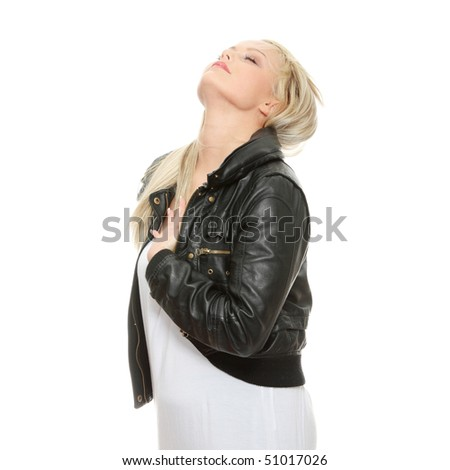 Portrait of a sexy young woman with leather jacket, isolated