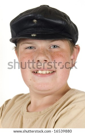portrait of a shipping boy isolated on white - stock photo