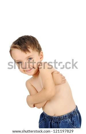 Portrait of a shirtless young boy posing - studio shot - stock photo
