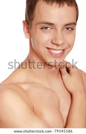 Portrait of a shirtless young man, isolated on white
