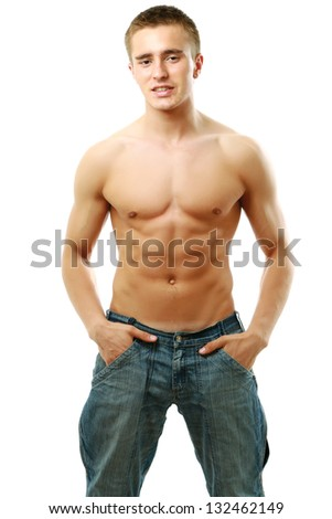 Portrait of a shirtless young man, isolated on white background - stock photo
