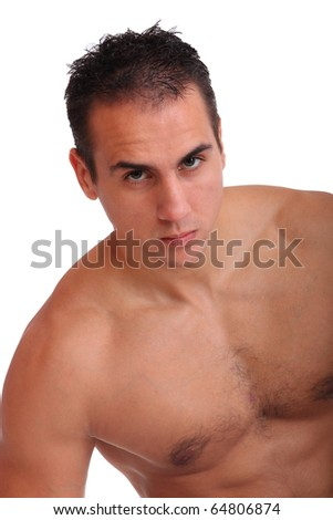 Portrait of a shirtless young man over white background