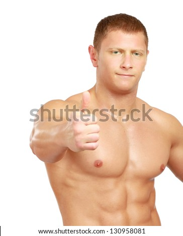 Portrait of a shirtless young man showing ok , isolated on white background