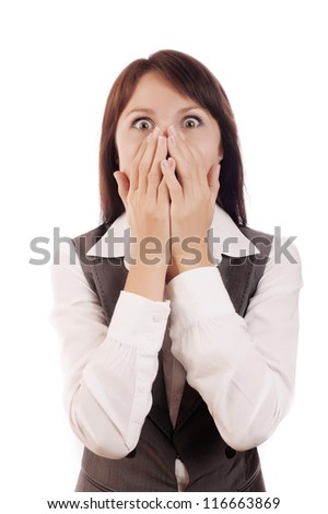Portrait of a shocked business woman, isolated on white background - stock photo