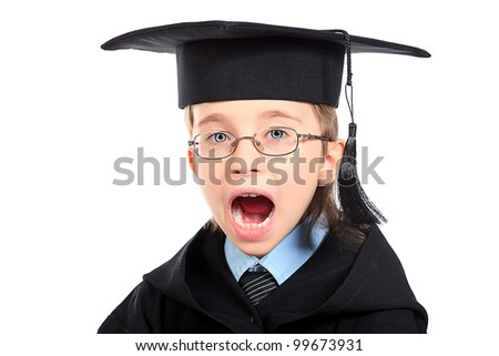 Portrait of a shouting boy in a graduation gown. Education. Isolated over white. - stock photo