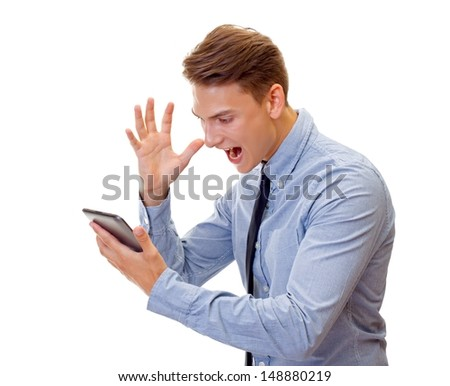 Portrait of a shouting businessman on isolated background - stock photo