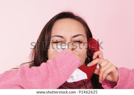 portrait of a sick girl speaking at phone - stock photo