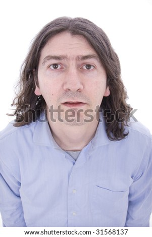 Portrait of a silly man posing isolated over white background