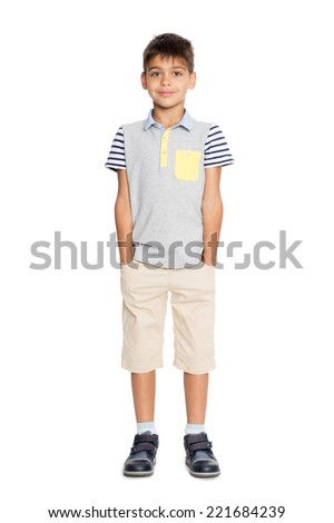 Portrait of a six year old boy in full growth.  - stock photo