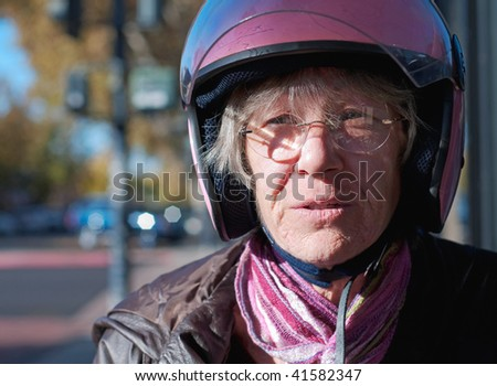 portrait of a sixty year old biker