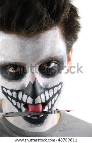 portrait of a skeleton guy as a murderer concept (isolated on white background) - stock photo
