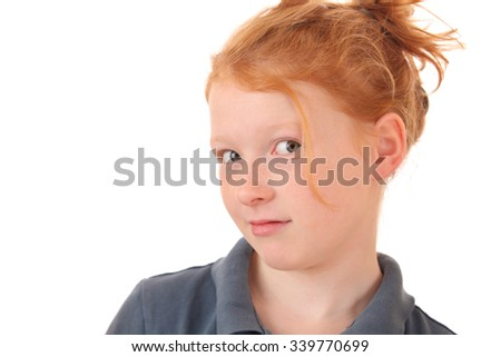 Portrait of a skeptical young teenage girl on white background - stock photo