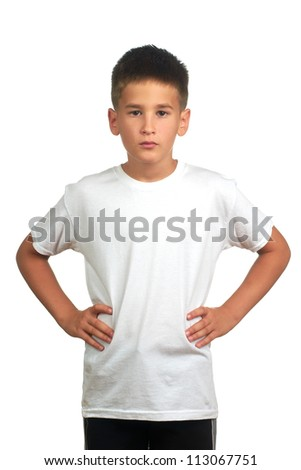 Portrait of a small boy looking at you on isolated background