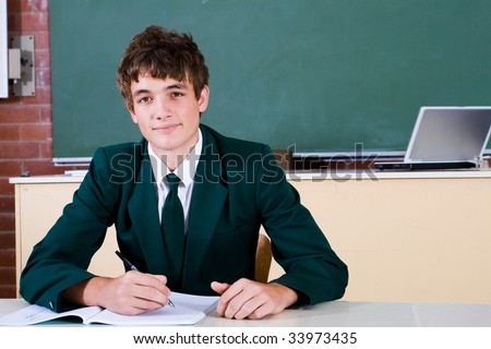 Portrait of a smart male high school student