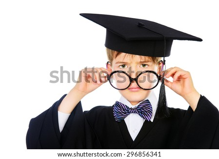 Portrait of a smart student boy in graduation suit. Educational concept. Isolated over white.  - stock photo