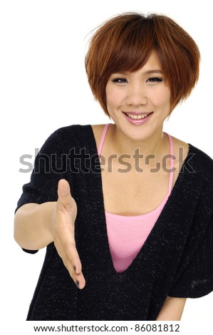Portrait of a smart woman stretches out her hand to shake hands - stock photo