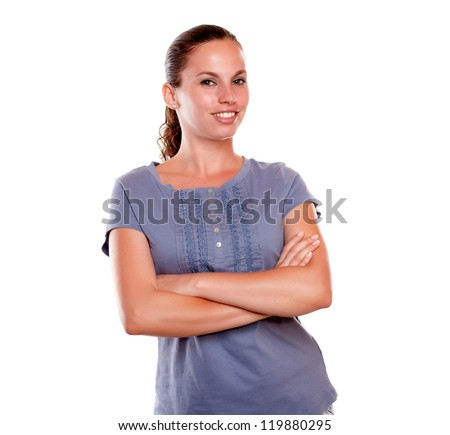Portrait of a smiling adult woman looking and smiling at you on isolated background - stock photo