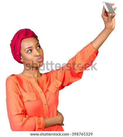 Portrait of a smiling afro american woman making selfie photo - stock photo