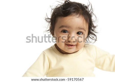 Portrait of a Smiling Baby Girl, Isolated, White - stock photo