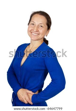 Portrait of a smiling beautiful mature woman - stock photo