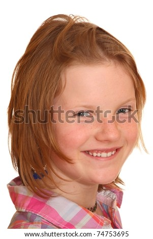 Portrait of a smiling blond girl isolated on white background - stock photo