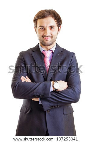 Portrait of a smiling business man, isolated on white - stock photo
