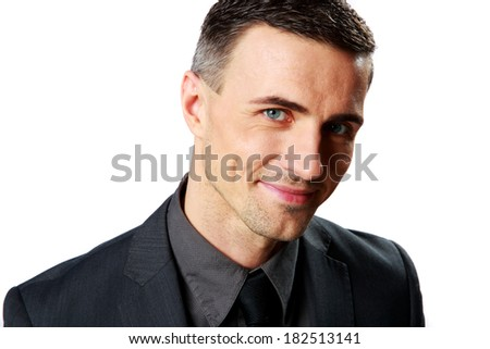 Portrait of a smiling businessman isolated on a white background