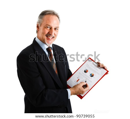 Portrait of a smiling businessman showing a business plan - stock photo