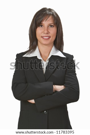 Portrait of a smiling businesswoman against a white background.