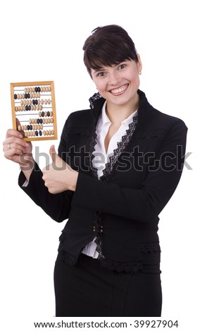 Portrait of a smiling businesswoman holding wooden abacus and shows OK.  Young attractive girl use an abacus. Isolated over white background.