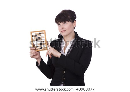 Portrait of a smiling businesswoman holding wooden abacus.  Young attractive girl use an abacus.