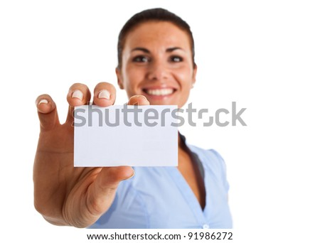 Portrait of a smiling businesswoman showing a blank business card - stock photo