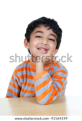 Portrait of a Smiling Child, Isolated, White - stock photo