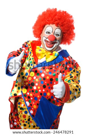 Portrait of a smiling clown giving thumbs up isolated on white - stock photo