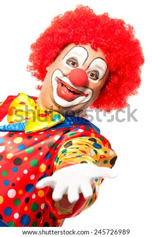 Portrait of a smiling clown isolated on white - stock photo