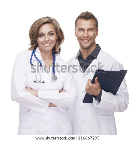 Portrait of a smiling doctors isolated on white background