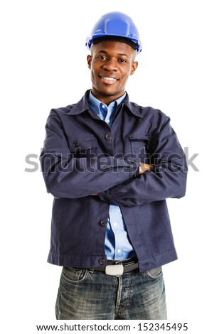 Portrait of a smiling engineer. Isolated on white - stock photo