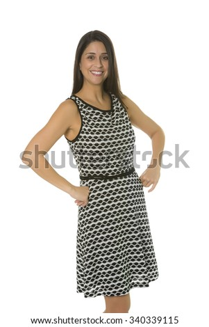 Portrait of a smiling female business woman isolated on white background. Her hands are at her hips. - stock photo