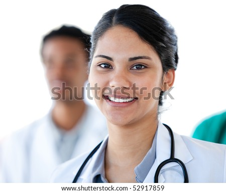 Portrait of a smiling female doctor against a white background - stock photo