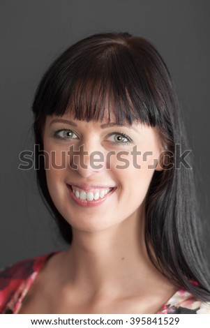 portrait of a smiling girl close up - stock photo
