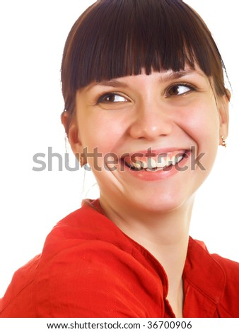 Portrait of a smiling girl in a red shirt - stock photo