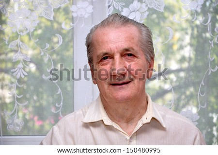 Portrait of a smiling grandfather - stock photo