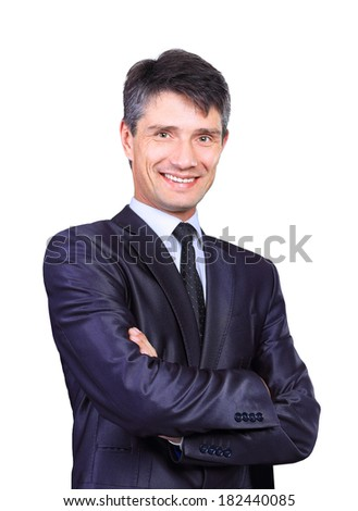 Portrait of a smiling handsome businessman - stock photo