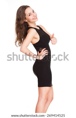 Portrait of a smiling happy brunette woman isolated on white. - stock photo
