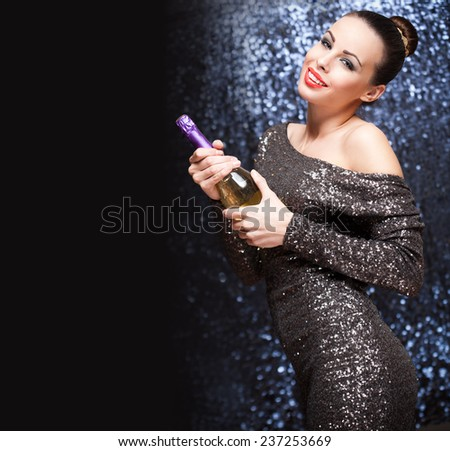 Portrait of a smiling happy festive brunette beauty. - stock photo