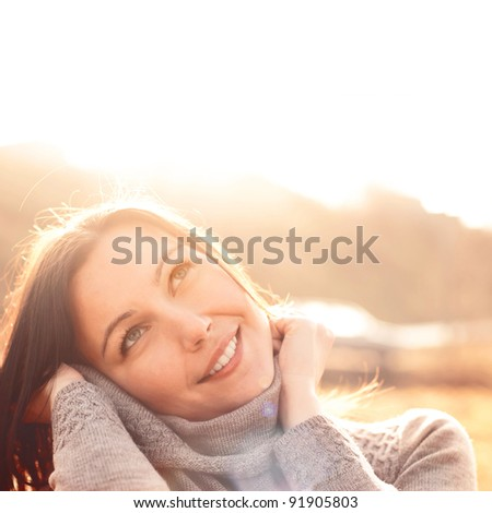 portrait of a smiling happy girl - stock photo